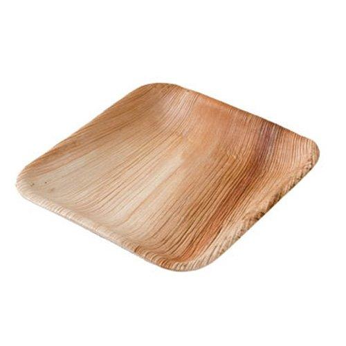 Einwegteller aus Palmblatt, 25 Stück, eckig, 15x15 cm, kompostierbar