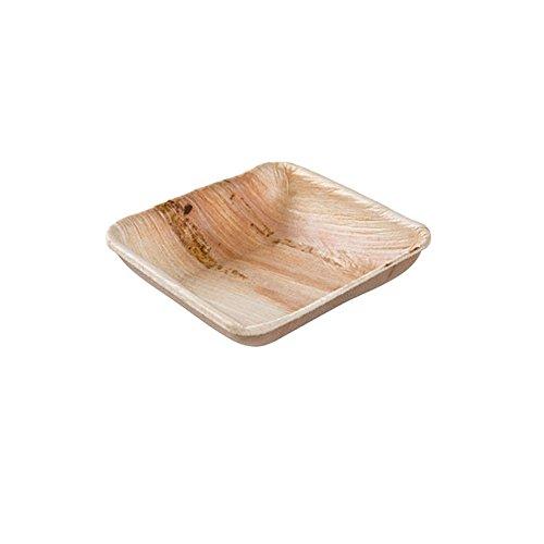 25x Palmblatt Minischälchen | 80ml, 8x8cm quadratisch - stabil und robust