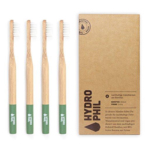 HYDROPHIL nachhaltige Zahnbürste aus Bambus grün 4er Pack mittelweich