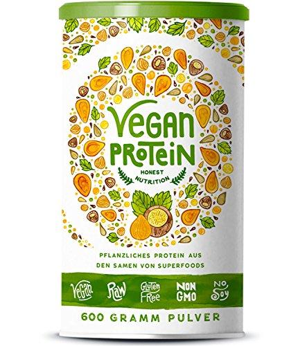 Vegan Protein (Haselnuss) -  600 Gramm Pulver mit natürlichem Haselnuss Geschmack