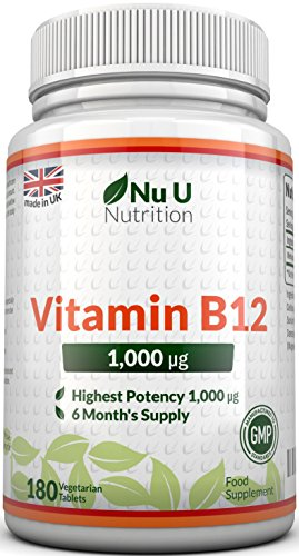 Vitamin B12 Methylcobalamin 1000 mcg - 180 Tabletten - Nu U Nutrition