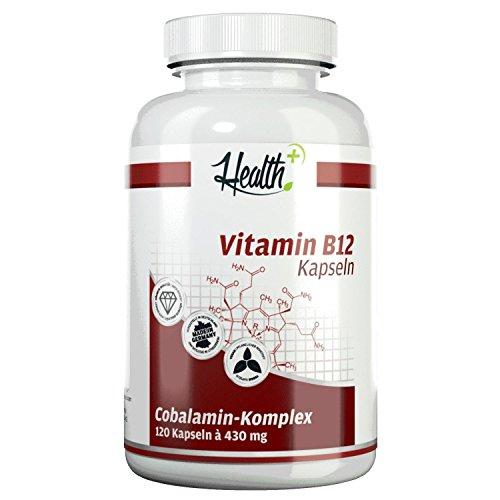 HEALTH+ Vitamin B12 - 120 Kapseln - 1000mcg Cobalamin-Komplex (Methylcobalamin, Adenosylcobalamin, Hydroxycobalamin)