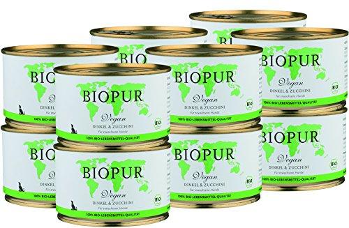 BIOPUR Vegan, Dinkel & Zucchini für Hunde - 12 x 400g