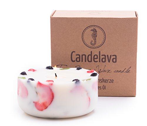 Duftkerze Soja Erdbeeren Minze Geschenk Kerze aus Bio Sojawachs ätherisches Öl Geschenkbox lange Brenndauer - 2