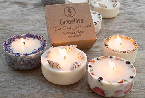 Duftkerze Soja Erdbeeren Minze Geschenk Kerze aus Bio Sojawachs ätherisches Öl Geschenkbox lange Brenndauer - 4