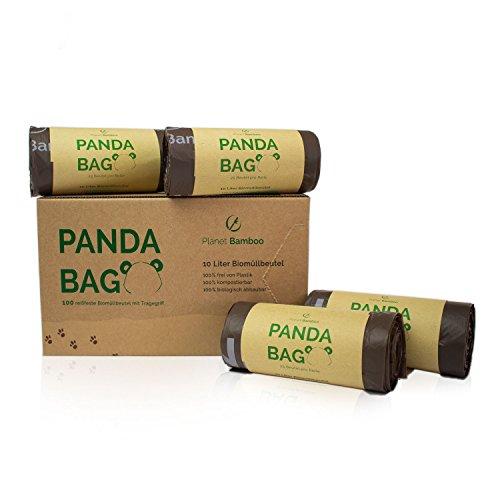 Planet Bamboo: Kompostierbare Bio-Müllbeutel 7l bis 10l mit Tragegriff - 100 Stück - braun