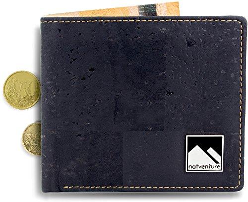 natventure® Kork Geldbörse / Portemonnaie - vegan & ökologisch mit RFID Schutz - in braun oder schwarz