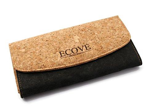 ECOVE - elegante Kork Damengeldbörse mit vielen Fächern - vegan -19cm x 10cm
