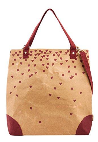 Adelheid Herzallerliebst Einkaufstasche aus veganem Leder - Papierbraun
