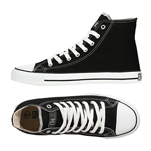 Ethletic Sneaker vegan HiCut - Farbe jet black / white aus Bio-Baumwolle - high Sneaker
