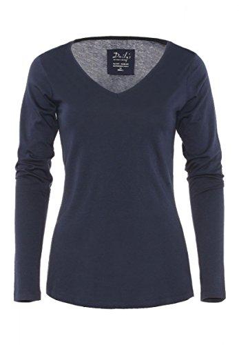 DAILY'S BAILEY Damen basic Langarmshirt mit V-Ausschnitt aus 100% Bio-Baumwolle - fair & nachhaltig - navy
