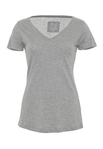 DAILY'S ALLY Damen basic T-Shirt mit V-Ausschnitt aus 100% Bio-Baumwolle - melange-grey