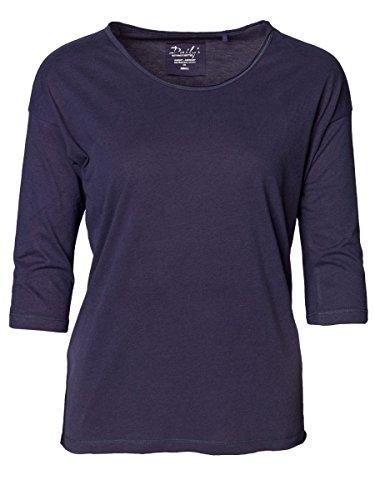 DAILY'S KORI Damen oversize 3/4 Arm Shirt mit Rundhalsausschnitt aus Seacell und Bio-Baumwolle - midnight