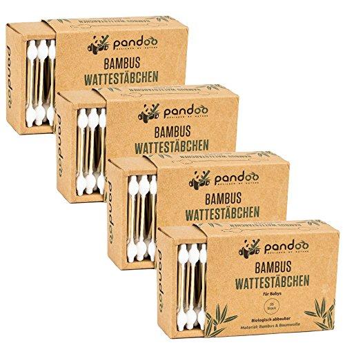 pandoo Bambus Wattestäbchen mit großem Sicherheitskopf - 4er Pack