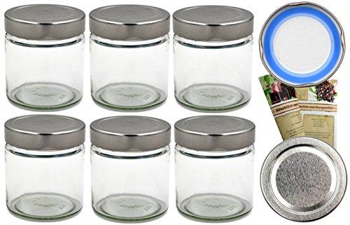12er Set Einmachgläser 220ml inkl. Blueseal-Deckel (PVC-frei, ohne Weichmacher)