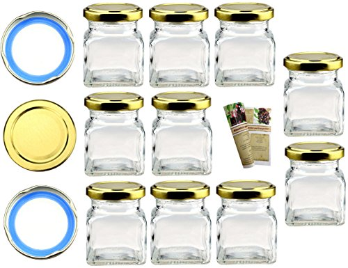 40er Set Einmachgläser 120ml incl. Blueseal Twist-Off-Deckel in Gold