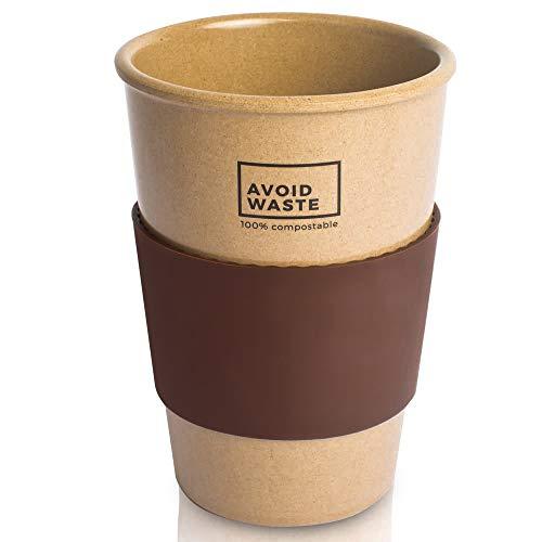 avoid waste - Nachhaltiger Kaffee-Becher to go aus Reishülsen. Der Mehrweg-Becher ist pflanzlich, biologisch abbaubar, BPA frei, spülmaschinenfest und umweltfreundlich (braun) - 2