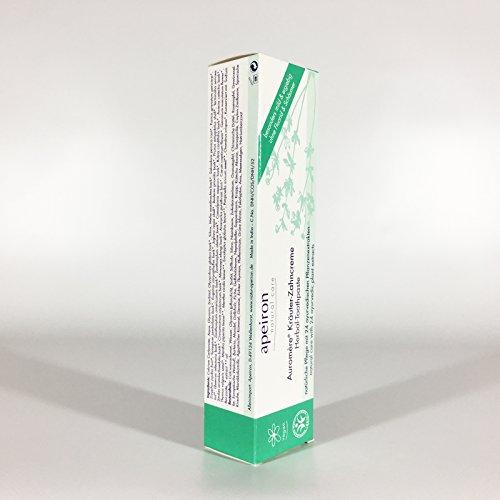 APEIRON Auromere Kräuter Zahncreme, angenehm minziger Geschmack, kaum aufschäumend, Bio Zahnpasta, Vegan, Fluoridfrei (ohne Fluorid), Tierversuchsfrei, Frisch, Pflegend, Naturkosmetik, 1 x 75 ml - 7