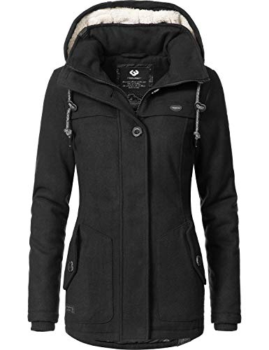 Ragwear Damen Wintermantel Like You, schwarz