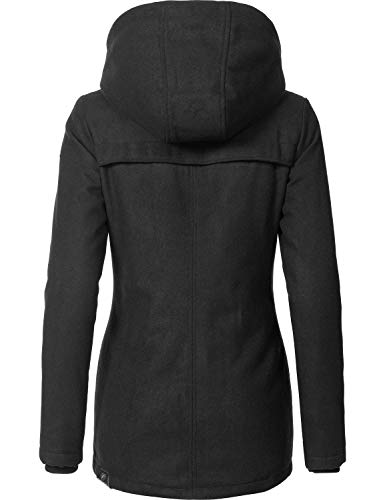 Ragwear Damen Wollmantel Wintermantel Winterparka Like You Schwarz Uni0818 Gr. M - 2