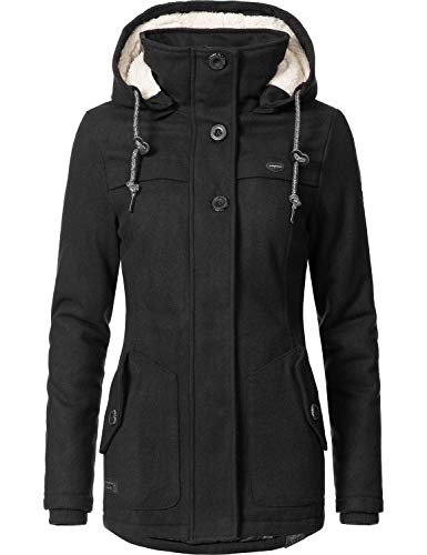 Ragwear Damen Wollmantel Wintermantel Winterparka Like You Schwarz Uni0818 Gr. M - 4