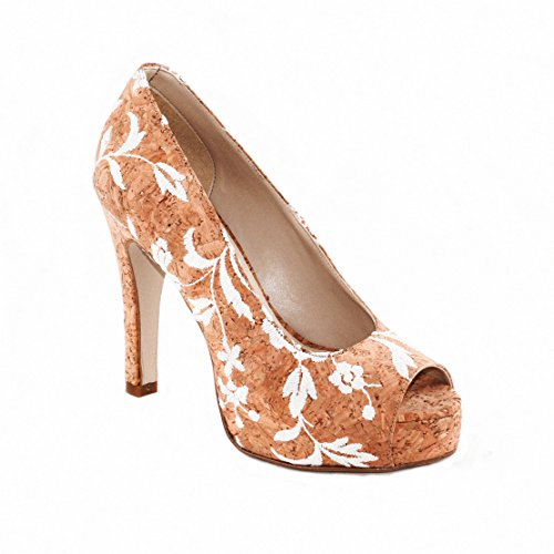 NAE Cork Rose Peep Toe - vegane Pumps / High-Heels mit Rosen