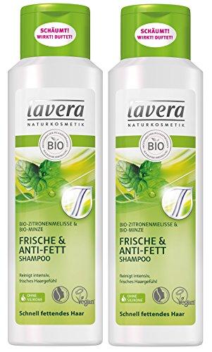lavera Haar Shampoo Frische & Anti Fett - Zitronenmelisse - Bio-Shampoo - 2 x 250 ml