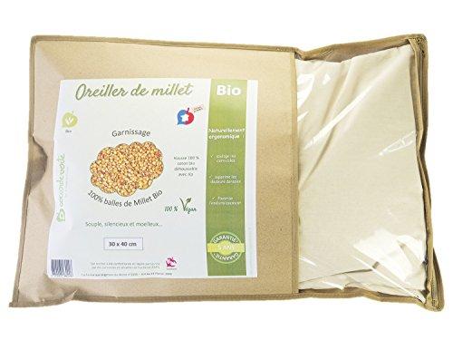 La Cocarde Verte - Bio-Hirsekissen - Ergonomisches Kissen für den Hals - Bio-Baumwolle und Bio-Gemüsebälle - Made in France 5 Jahre Garantie - Vegan - 3