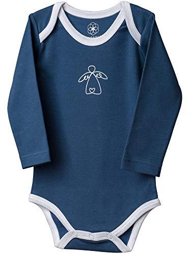 Unisex Baby-Body Langarm in Blau - Schutzengel (86/92)