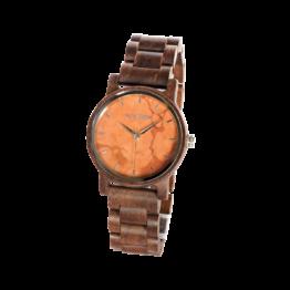 Liebe (Walnuss/Marmor) - Holzkern Uhr