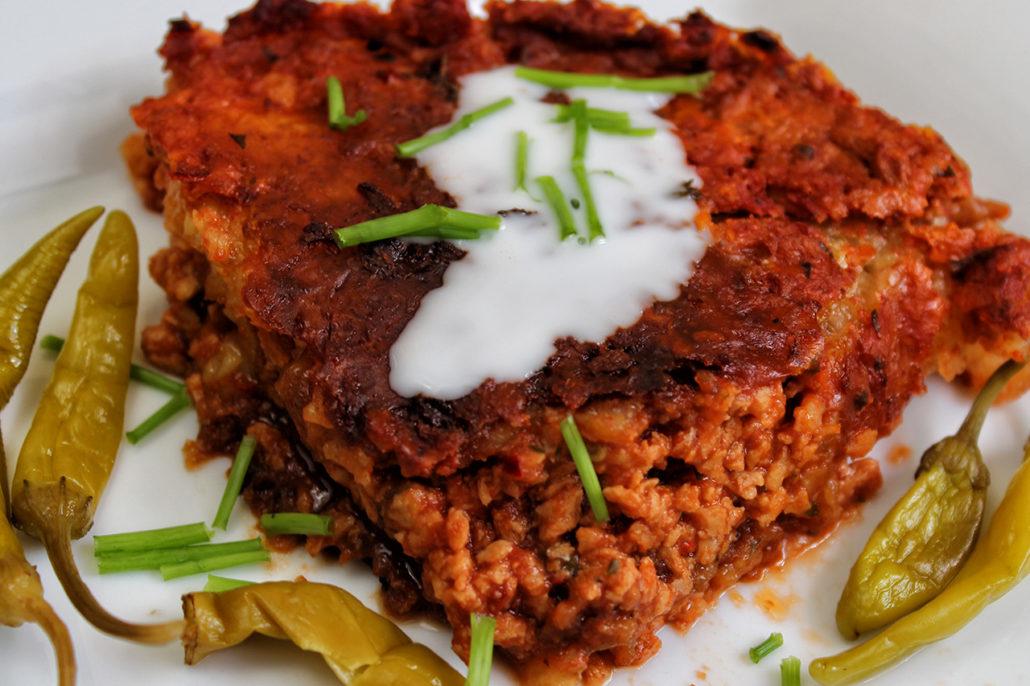 Veganer Kartoffelpuffer-Auflauf / -Lasagne