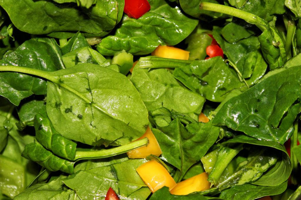 Spinat Salat - glutenfrei, vegan & zuckerfrei