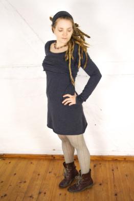 BIO Kleid - schwarz meliert - Schleifchen