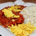 Glutenfreie und vegane Tortilla Tomaten Pfanne