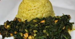 Afrikanische Spinat Pfanne mit Erdnüssen
