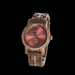 Agbar (Walnuss/Weinrot) - Holzkern Uhr