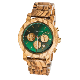 Blätterdach (Zebrano/Blattgrün) - Holzkern Uhr