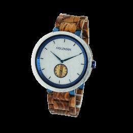 Bolten (Zebrano/Marmor) - Holzkern Uhr