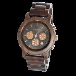Buschwerk (Walnuss/Nachtschwarz) - Holzkern Uhr