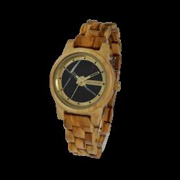DreiZinnen (Olive/Marmor) - Holzkern Uhr