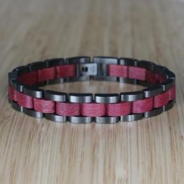 Dreiklang (Amaranth/Grau) - Holzkern Uhr
