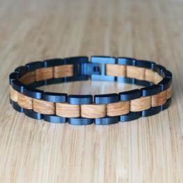 Dreiklang (Eiche/Blau) - Holzkern Uhr