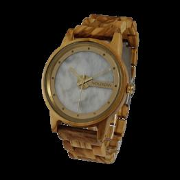 Everest (Olivenholz/Marmor) - Holzkern Uhr