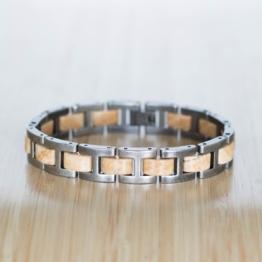Forte (Marmor/Antiksilber) - Holzkern Uhr