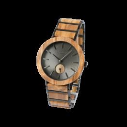 Gobi (Olivenholz/Grau) - Holzkern Uhr