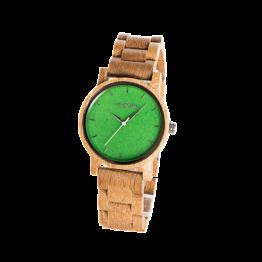 Hoffnung (Eiche/Amazonit) - Holzkern Uhr
