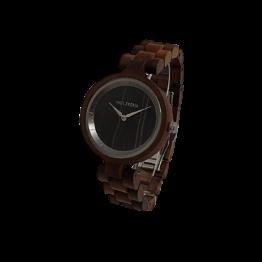 Hornveilchen (Walnuss/Leadwood) - Holzkern Uhr