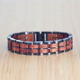 Kanon (Mahagoni/Grau) - Holzkern Uhr