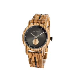 Khalifa (Zebrano/Nachtschwarz) - Holzkern Uhr
