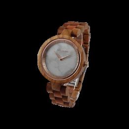 Kirschblüte (Kirschholz/Marmor) - Holzkern Uhr